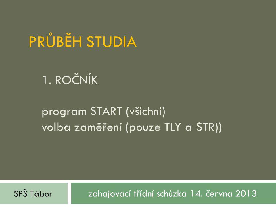 PRŮBĚH STUDIA 1. ROČNÍK program START (všichni) volba zaměření (pouze TLY a STR)) zahajovací třídní schůzka 14. června 2013 SPŠ Tábor