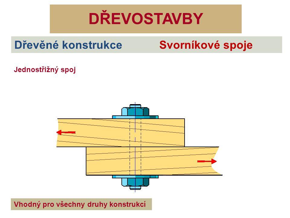 DŘEVOSTAVBY Dřevěné konstrukce Svorníkové spoje Jednostřižný spoj Vhodný pro všechny druhy konstrukcí