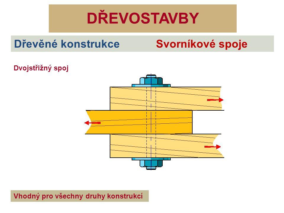 DŘEVOSTAVBY Dřevěné konstrukce Svorníkové spoje Dvojstřižný spoj Vhodný pro všechny druhy konstrukcí