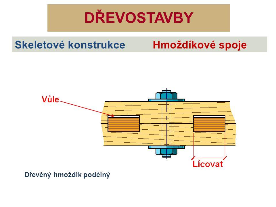 DŘEVOSTAVBY Skeletové konstrukce Hmoždíkové spoje Dřevěný hmoždík podélný Vůle