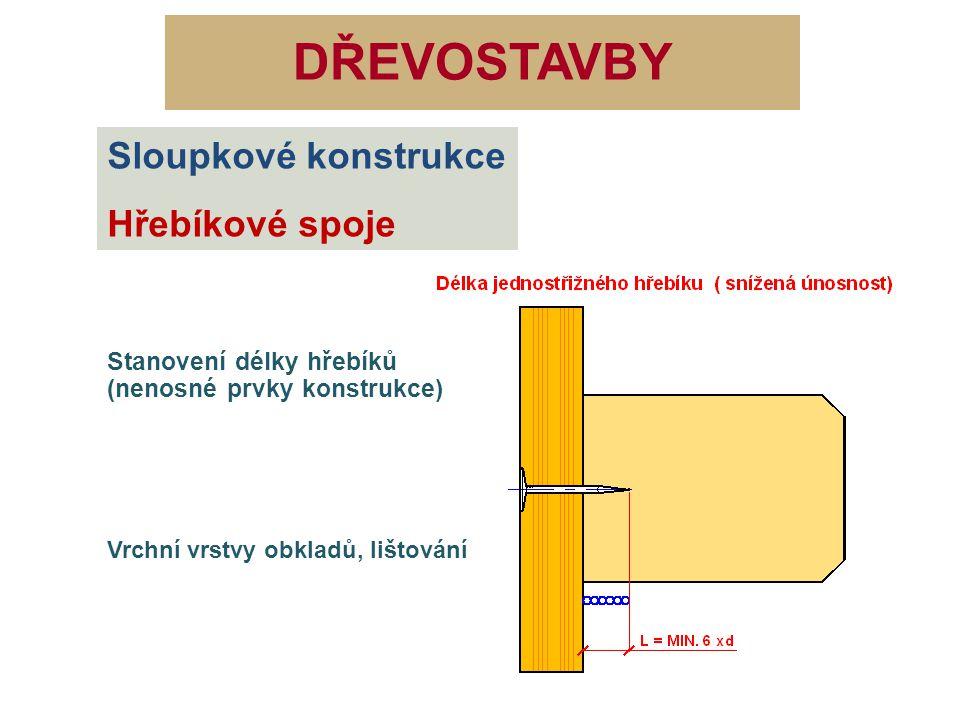 DŘEVOSTAVBY Sloupkové konstrukce Hřebíkové spoje Stanovení délky hřebíků (připevnění pláště) Vhodný pro všechny druhy konstrukcí montovaných z jednoduchých prvků