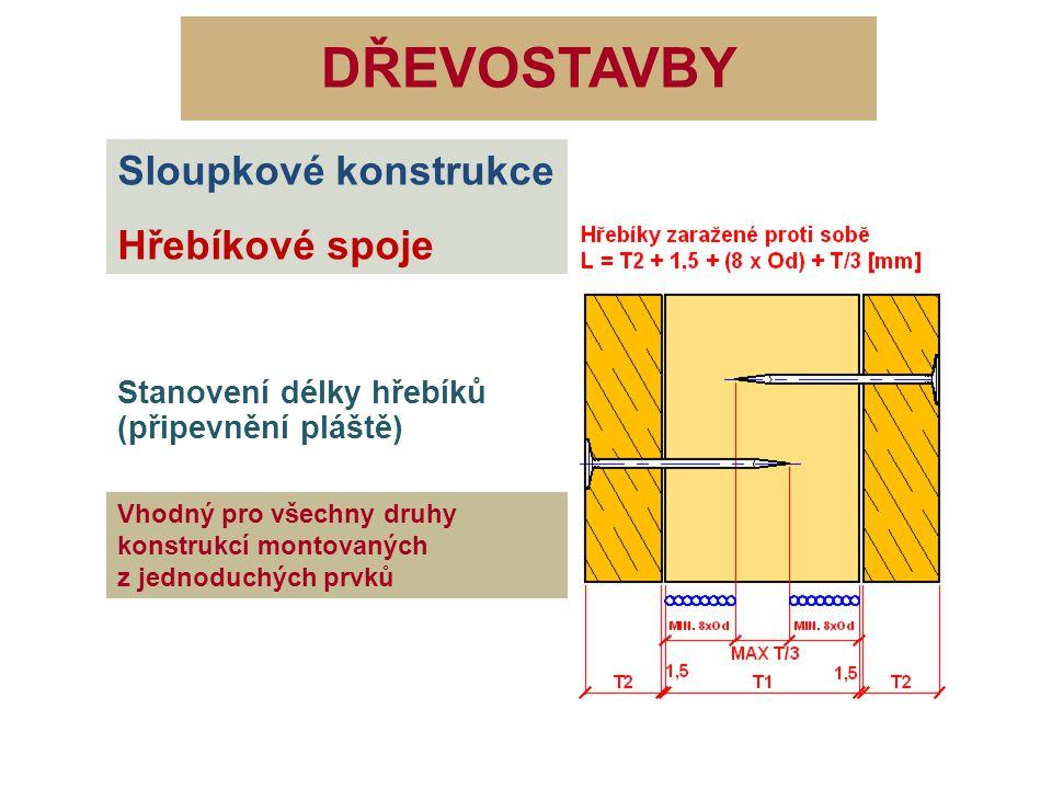 DŘEVOSTAVBY Sloupkové konstrukce Hřebíkové spoje Stanovení délky hřebíků (připevnění pláště) Vhodný pro všechny druhy konstrukcí montovaných z jednodu