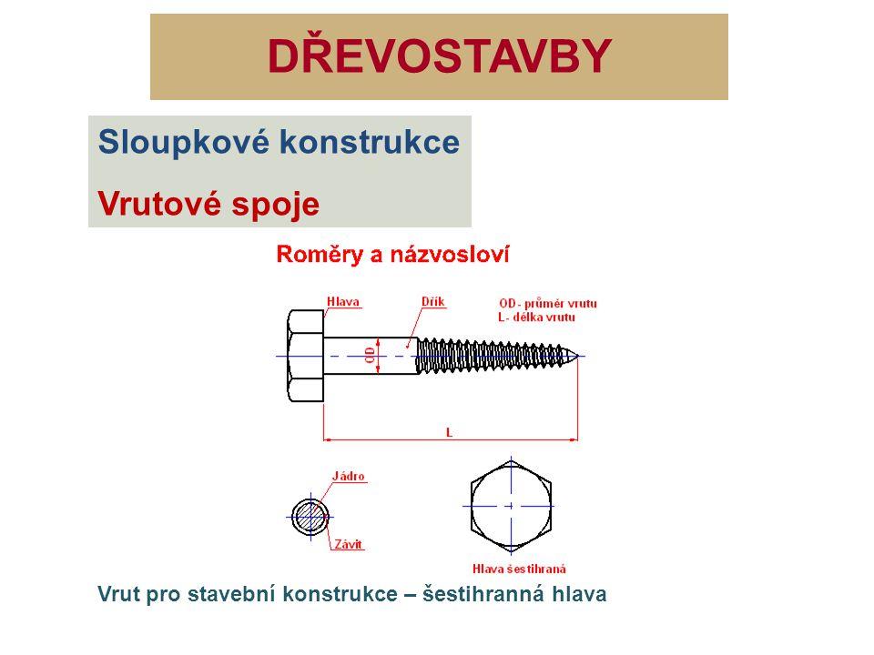 DŘEVOSTAVBY Sloupkové konstrukce Vrutové spoje Délka vrutu vhodná pro nosné konstrukce dřevěných staveb Vhodný pro všechny druhy konstrukcí montovaných z dílců