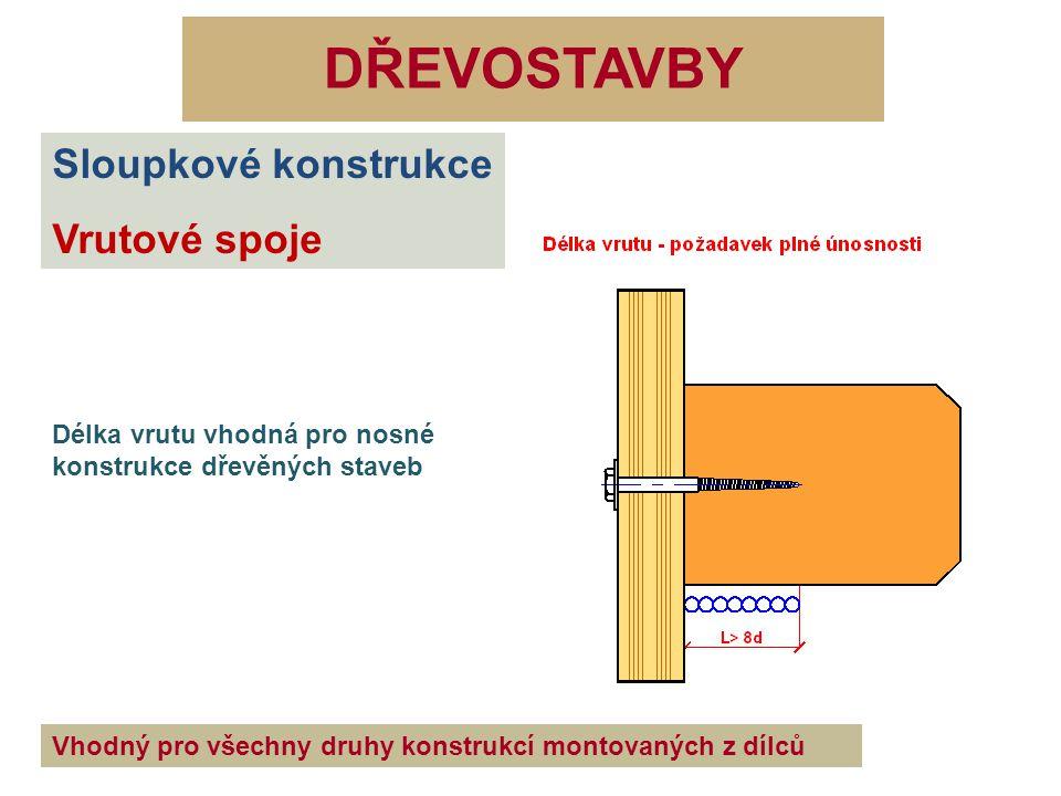 DŘEVOSTAVBY Sloupkové konstrukce Vrutové spoje Délka vrutu vhodná pro nosné konstrukce dřevěných staveb Vhodný pro všechny druhy konstrukcí montovanýc