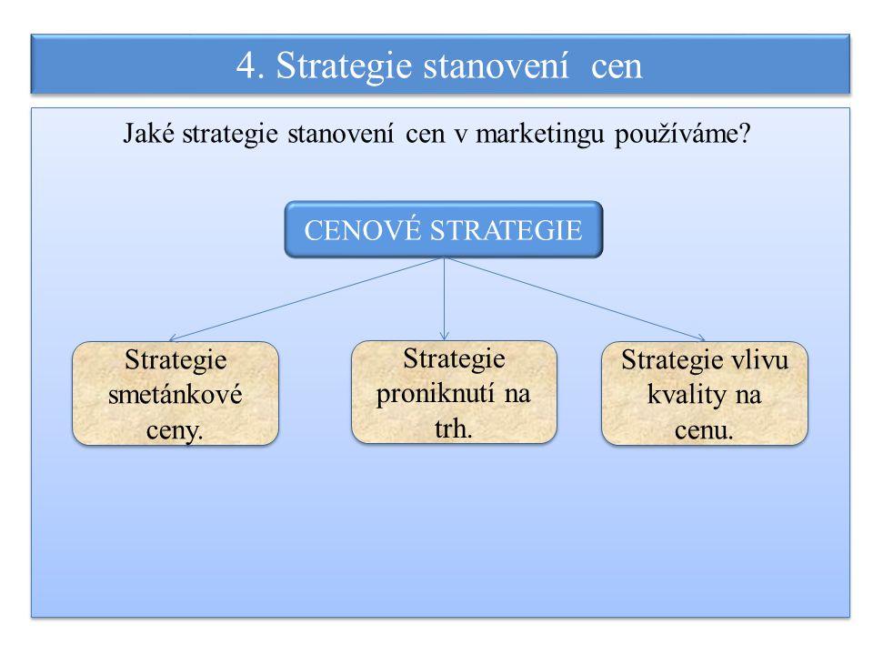 4. Strategie stanovení cen Jaké strategie stanovení cen v marketingu používáme? CENOVÉ STRATEGIE Strategie vlivu kvality na cenu. Strategie proniknutí