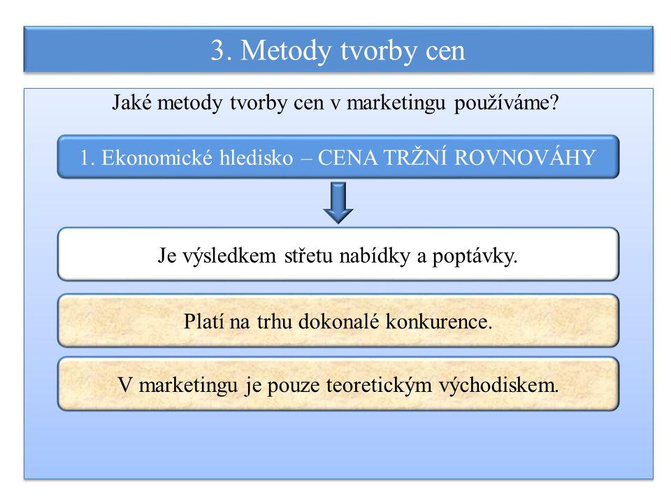 3. Metody tvorby cen 1. Ekonomické hledisko – CENA TRŽNÍ ROVNOVÁHY Je výsledkem střetu nabídky a poptávky. Jaké metody tvorby cen v marketingu používá