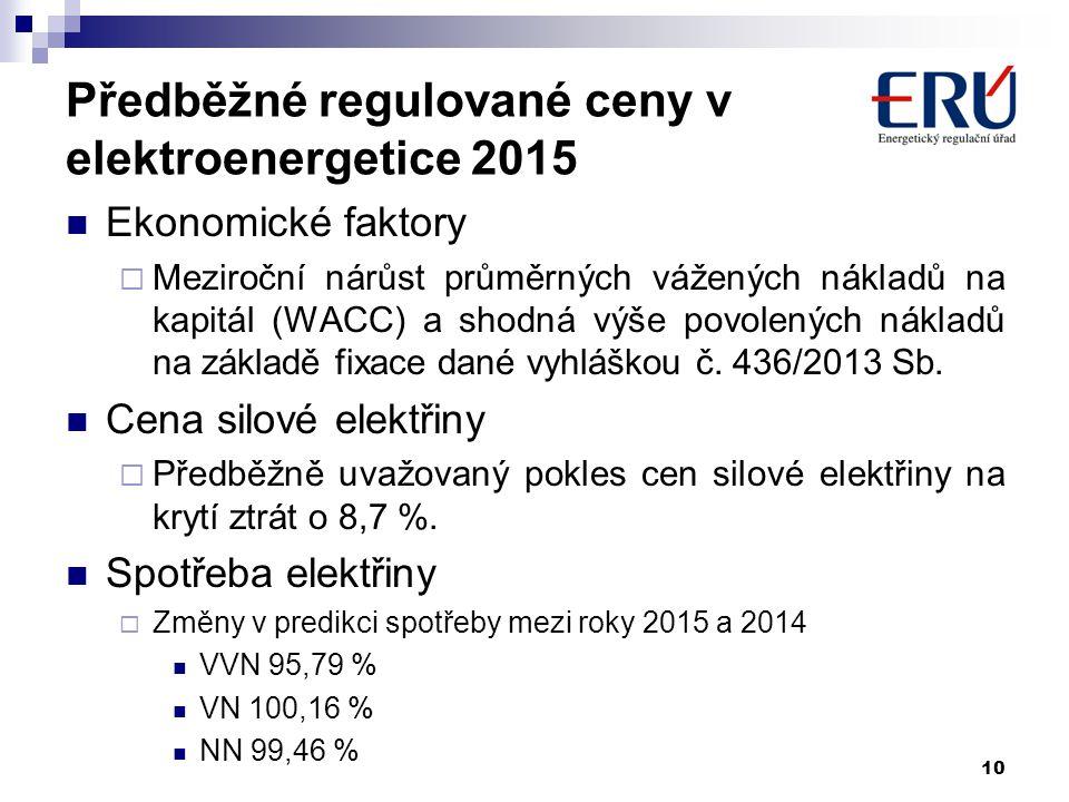 10 Předběžné regulované ceny v elektroenergetice 2015 Ekonomické faktory  Meziroční nárůst průměrných vážených nákladů na kapitál (WACC) a shodná výš