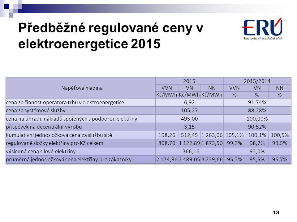 13 Předběžné regulované ceny v elektroenergetice 2015