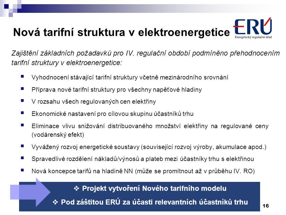 Nová tarifní struktura v elektroenergetice Zajištění základních požadavků pro IV. regulační období podmíněno přehodnocením tarifní struktury v elektro