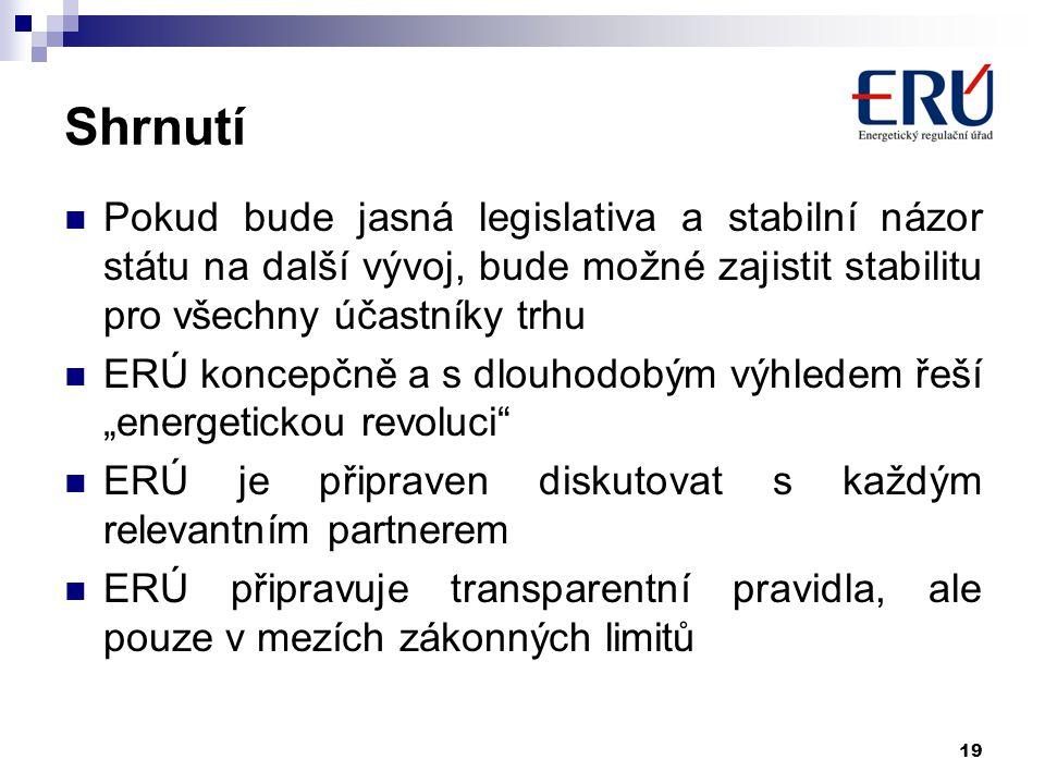 19 Shrnutí Pokud bude jasná legislativa a stabilní názor státu na další vývoj, bude možné zajistit stabilitu pro všechny účastníky trhu ERÚ koncepčně