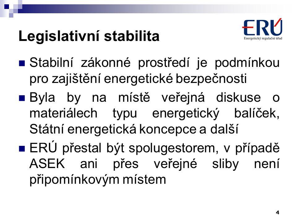 4 Legislativní stabilita Stabilní zákonné prostředí je podmínkou pro zajištění energetické bezpečnosti Byla by na místě veřejná diskuse o materiálech