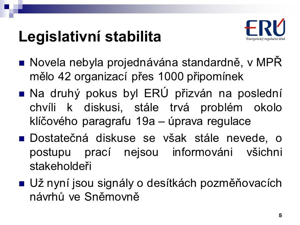 5 Legislativní stabilita Novela nebyla projednávána standardně, v MPŘ mělo 42 organizací přes 1000 připomínek Na druhý pokus byl ERÚ přizván na posled