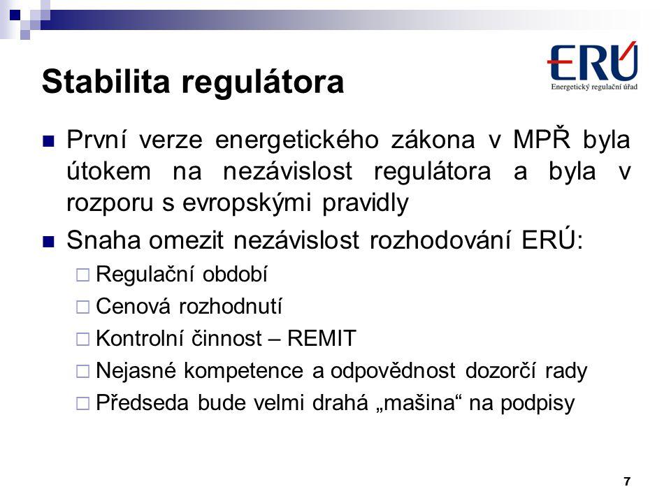 7 Stabilita regulátora První verze energetického zákona v MPŘ byla útokem na nezávislost regulátora a byla v rozporu s evropskými pravidly Snaha omezi