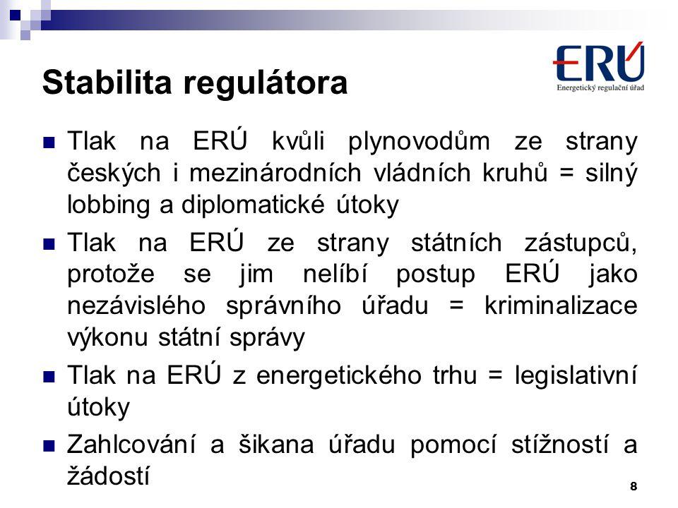 8 Stabilita regulátora Tlak na ERÚ kvůli plynovodům ze strany českých i mezinárodních vládních kruhů = silný lobbing a diplomatické útoky Tlak na ERÚ