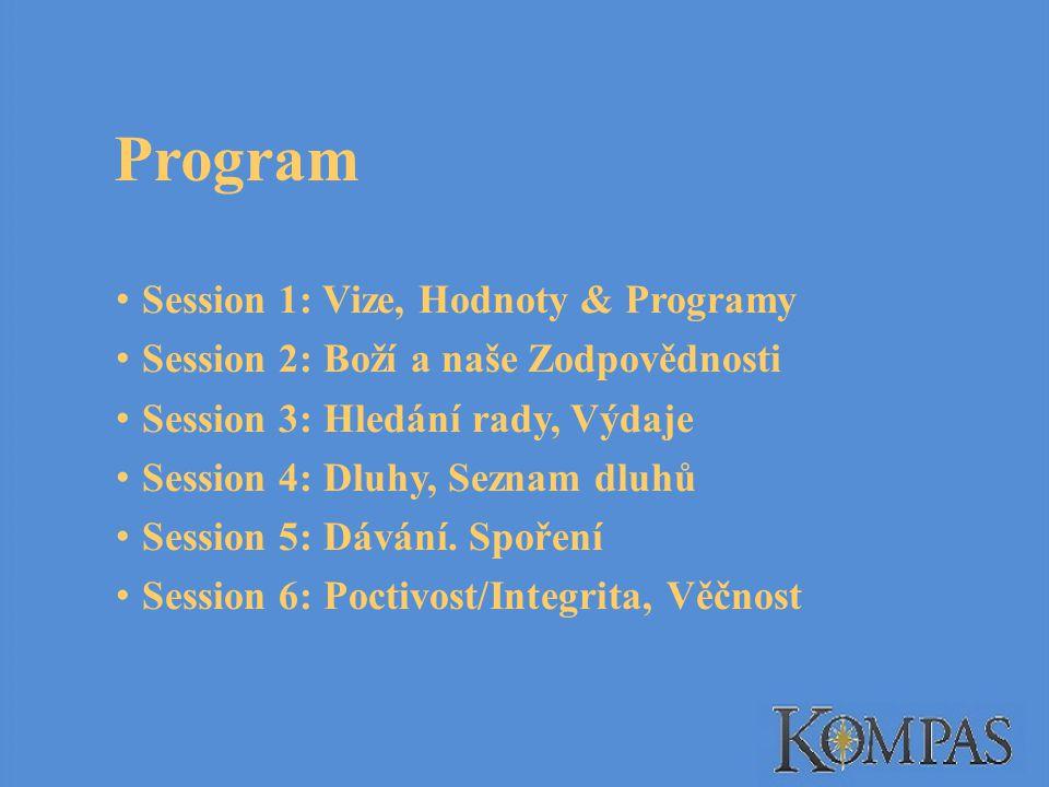 Session 1: Vize, Hodnoty & Programy Session 2: Boží a naše Zodpovědnosti Session 3: Hledání rady, Výdaje Session 4: Dluhy, Seznam dluhů Session 5: Dávání.