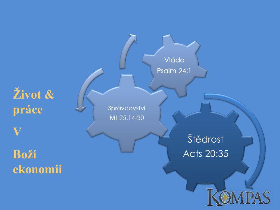 Štědrost Acts 20:35 Správcovství Mt 25:14-30 Vláda Psalm 24:1 Život & práce V Boží ekonomii