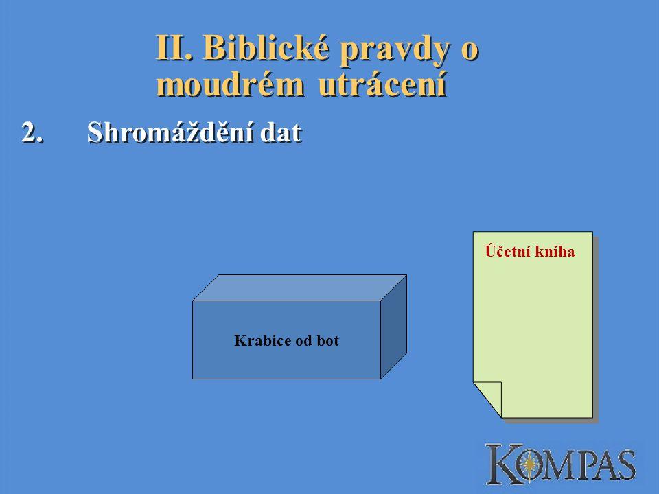 II. Biblické pravdy o moudrém utrácení 2.Shromáždění dat Účetní kniha Krabice od bot