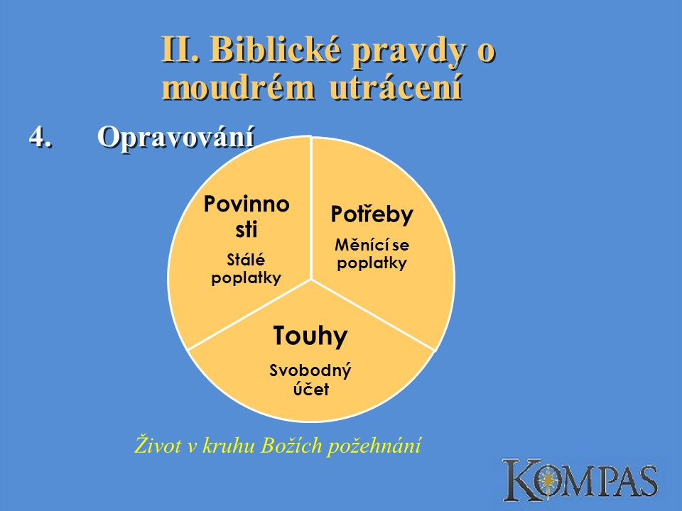 II. Biblické pravdy o moudrém utrácení 4.Opravování Potřeby Měnící se poplatky Touhy Svobodný účet Povinno sti Stálé poplatky Život v kruhu Božích pož