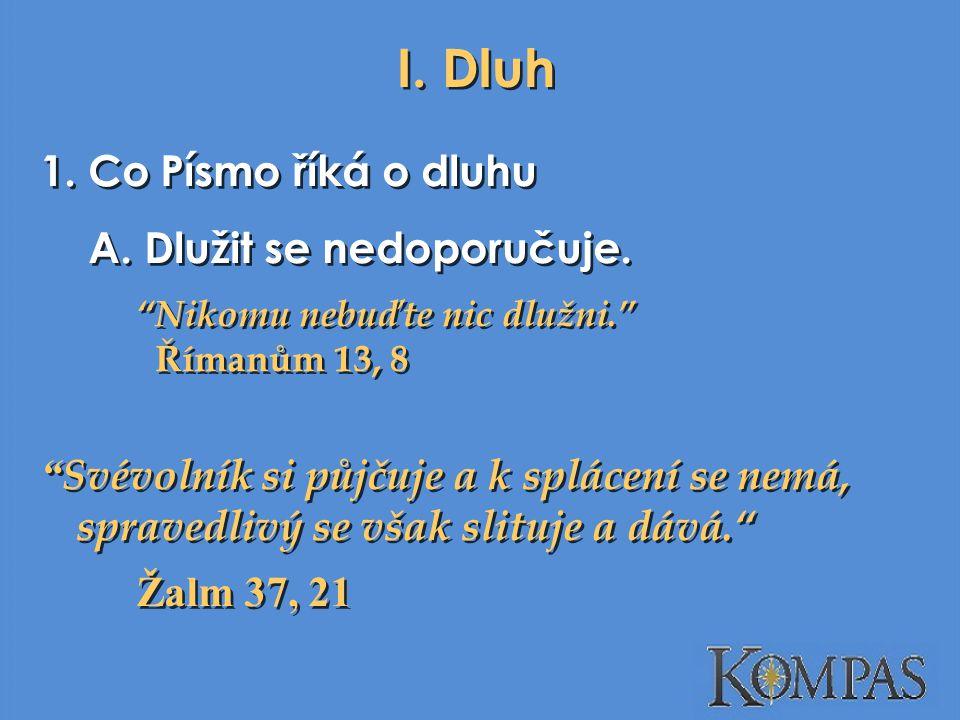 I.Dluh 1. Co Písmo říká o dluhu A. Dlužit se nedoporučuje.