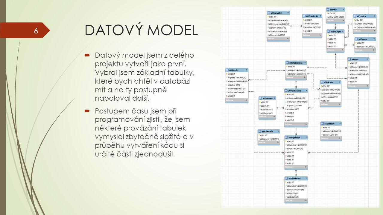 DATOVÝ MODEL  Datový model jsem z celého projektu vytvořil jako první. Vybral jsem základní tabulky, které bych chtěl v databázi mít a na ty postupně