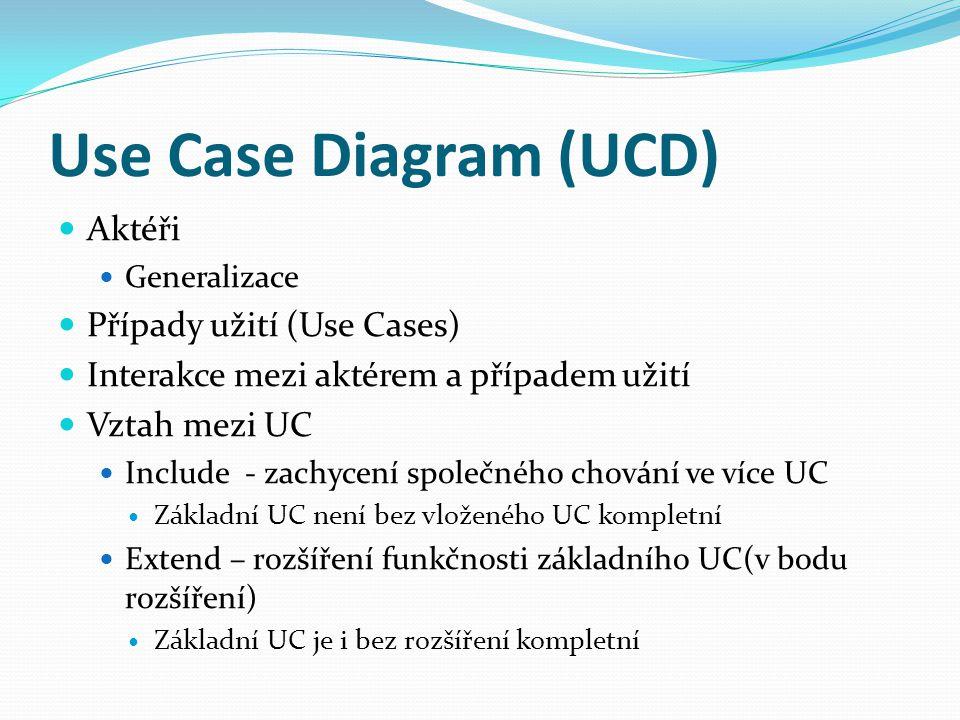 Use Case Diagram (UCD) Aktéři Generalizace Případy užití (Use Cases) Interakce mezi aktérem a případem užití Vztah mezi UC Include - zachycení společného chování ve více UC Základní UC není bez vloženého UC kompletní Extend – rozšíření funkčnosti základního UC(v bodu rozšíření) Základní UC je i bez rozšíření kompletní