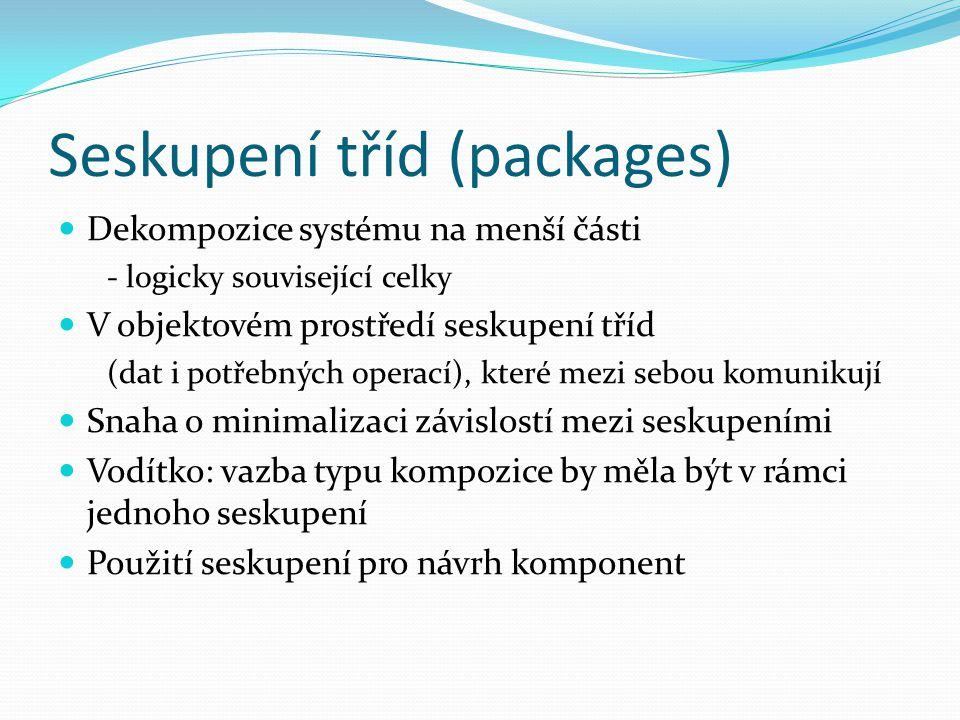 Seskupení tříd (packages) Dekompozice systému na menší části - logicky související celky V objektovém prostředí seskupení tříd (dat i potřebných operací), které mezi sebou komunikují Snaha o minimalizaci závislostí mezi seskupeními Vodítko: vazba typu kompozice by měla být v rámci jednoho seskupení Použití seskupení pro návrh komponent