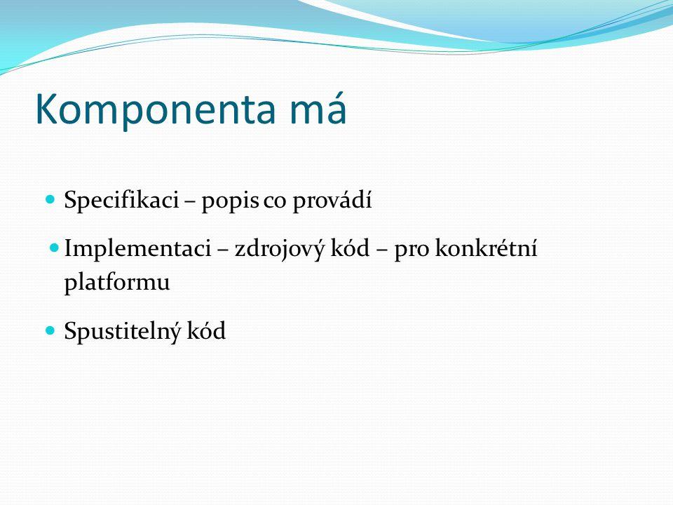 Komponenta má Specifikaci – popis co provádí Implementaci – zdrojový kód – pro konkrétní platformu Spustitelný kód