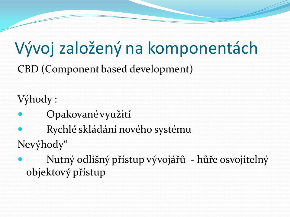 Vývoj založený na komponentách CBD (Component based development) Výhody : Opakované využití Rychlé skládání nového systému Nevýhody Nutný odlišný přístup vývojářů - hůře osvojitelný objektový přístup