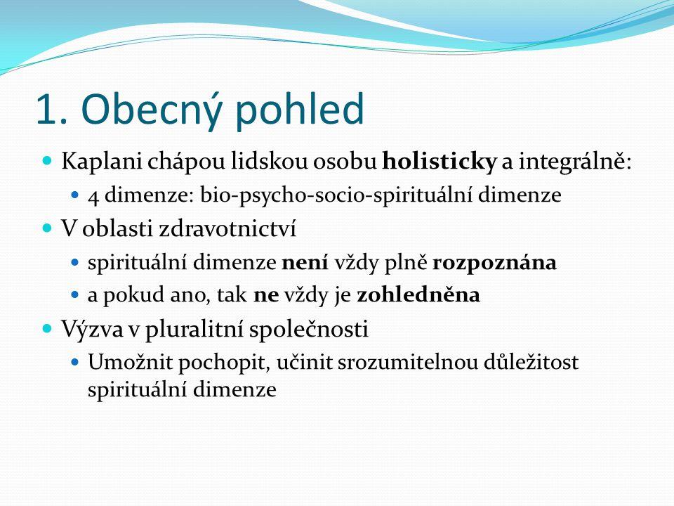 1. Obecný pohled Kaplani chápou lidskou osobu holisticky a integrálně: 4 dimenze: bio-psycho-socio-spirituální dimenze V oblasti zdravotnictví spiritu