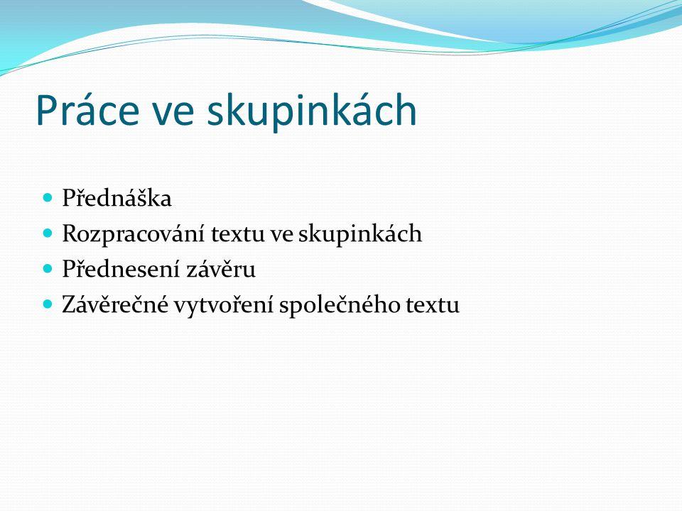 Práce ve skupinkách Přednáška Rozpracování textu ve skupinkách Přednesení závěru Závěrečné vytvoření společného textu