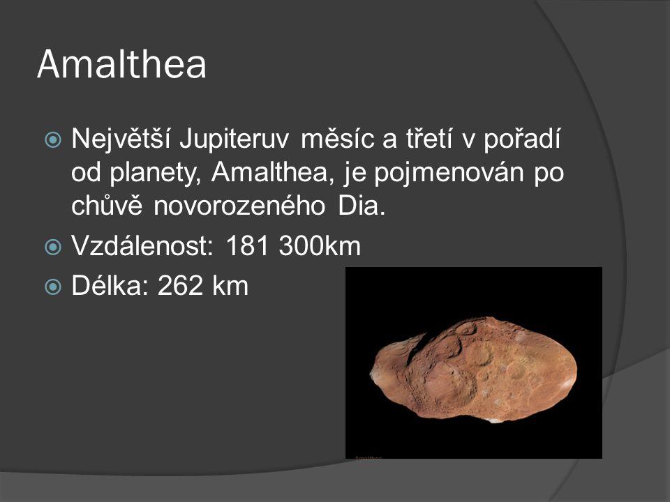 Amalthea  Největší Jupiteruv měsíc a třetí v pořadí od planety, Amalthea, je pojmenován po chůvě novorozeného Dia.