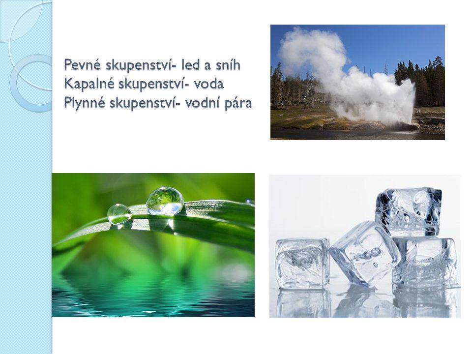 Pevné skupenství- led a sníh Kapalné skupenství- voda Plynné skupenství- vodní pára
