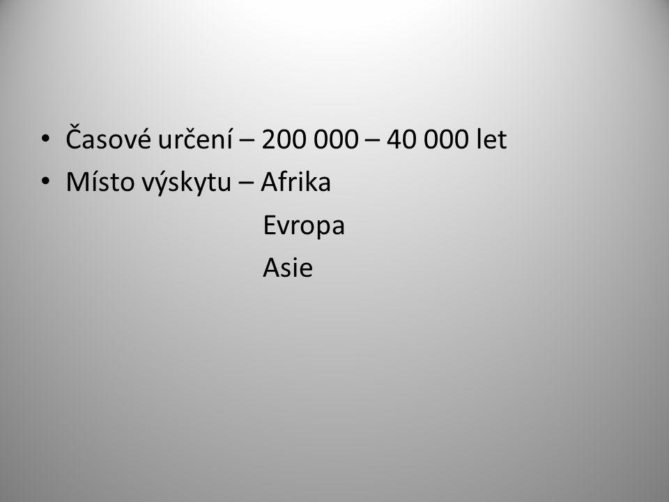 Časové určení – 200 000 – 40 000 let Místo výskytu – Afrika Evropa Asie