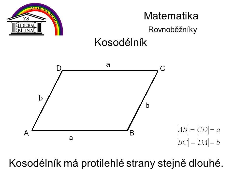 Matematika Rovnoběžníky Kosodélník Kosodélník má protilehlé strany stejně dlouhé.