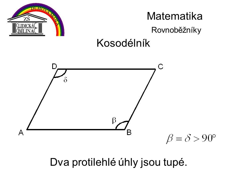 Matematika Rovnoběžníky Kosodélník Dva protilehlé úhly jsou tupé.