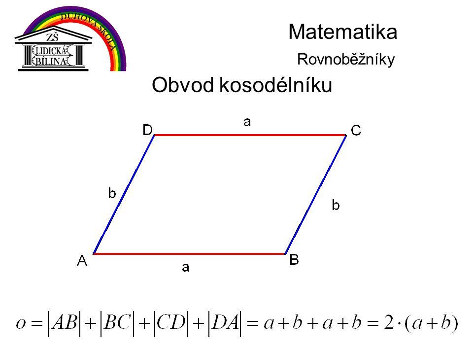Matematika Rovnoběžníky Obvod kosodélníku