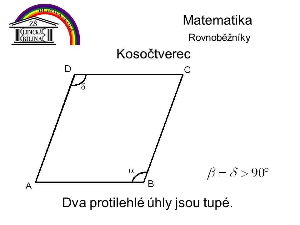Matematika Rovnoběžníky Kosočtverec Dva protilehlé úhly jsou tupé.