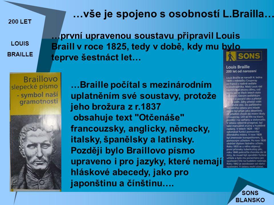200 LET LOUIS BRAILLE SONS BLANSKO …první upravenou soustavu připravil Louis Braill v roce 1825, tedy v době, kdy mu bylo teprve šestnáct let… …Braille počítal s mezinárodním uplatněním své soustavy, protože jeho brožura z r.1837 obsahuje text Otčenáše francouzsky, anglicky, německy, italsky, španělsky a latinsky.