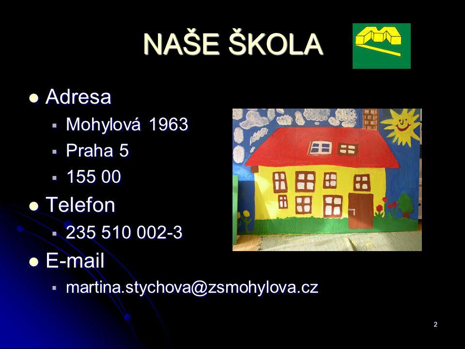 2 NAŠE ŠKOLA Adresa Adresa  Mohylová 1963  Praha 5  155 00 Telefon Telefon  235 510 002-3 E-mail E-mail  martina.stychova@zsmohylova.cz