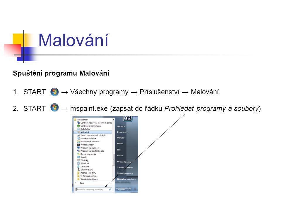 Malování Spuštění programu Malování 1.START → Všechny programy → Příslušenství → Malování 2.START → mspaint.exe (zapsat do řádku Prohledat programy a