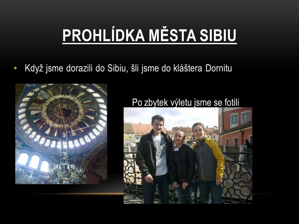 Když jsme dorazili do Sibiu, šli jsme do kláštera Dornitu PROHLÍDKA MĚSTA SIBIU Po zbytek výletu jsme se fotili