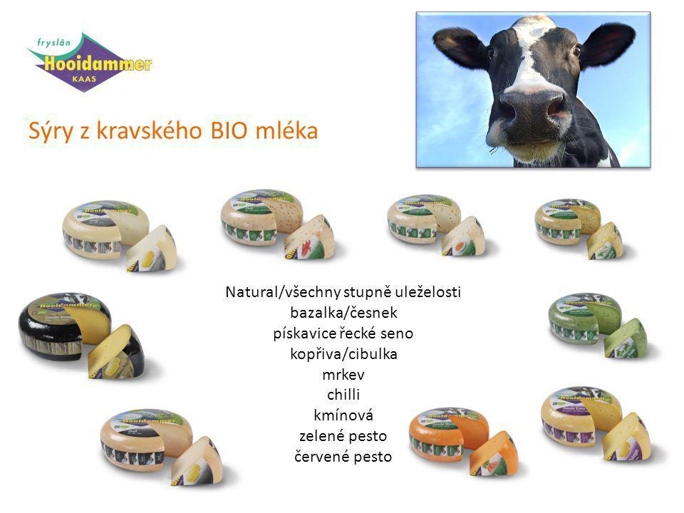 Sýry z kravského BIO mléka Natural/všechny stupně uleželosti bazalka/česnek pískavice řecké seno kopřiva/cibulka mrkev chilli kmínová zelené pesto červené pesto