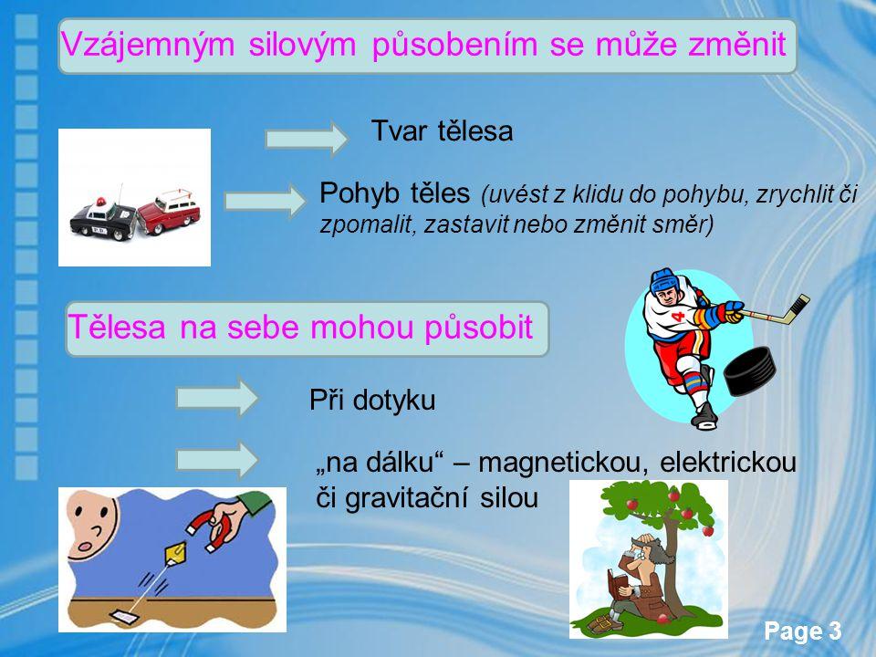 Page 3 Vzájemným silovým působením se může změnit Tvar tělesa Pohyb těles (uvést z klidu do pohybu, zrychlit či zpomalit, zastavit nebo změnit směr) T