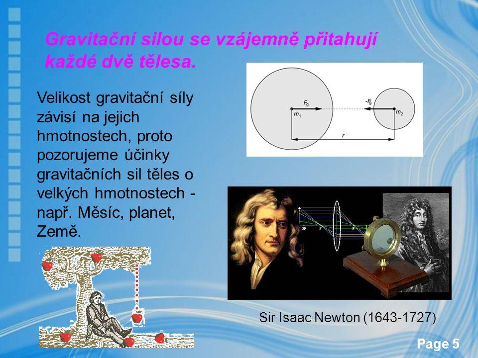 Page 5 Gravitační silou se vzájemně přitahují každé dvě tělesa. Velikost gravitační síly závisí na jejich hmotnostech, proto pozorujeme účinky gravita