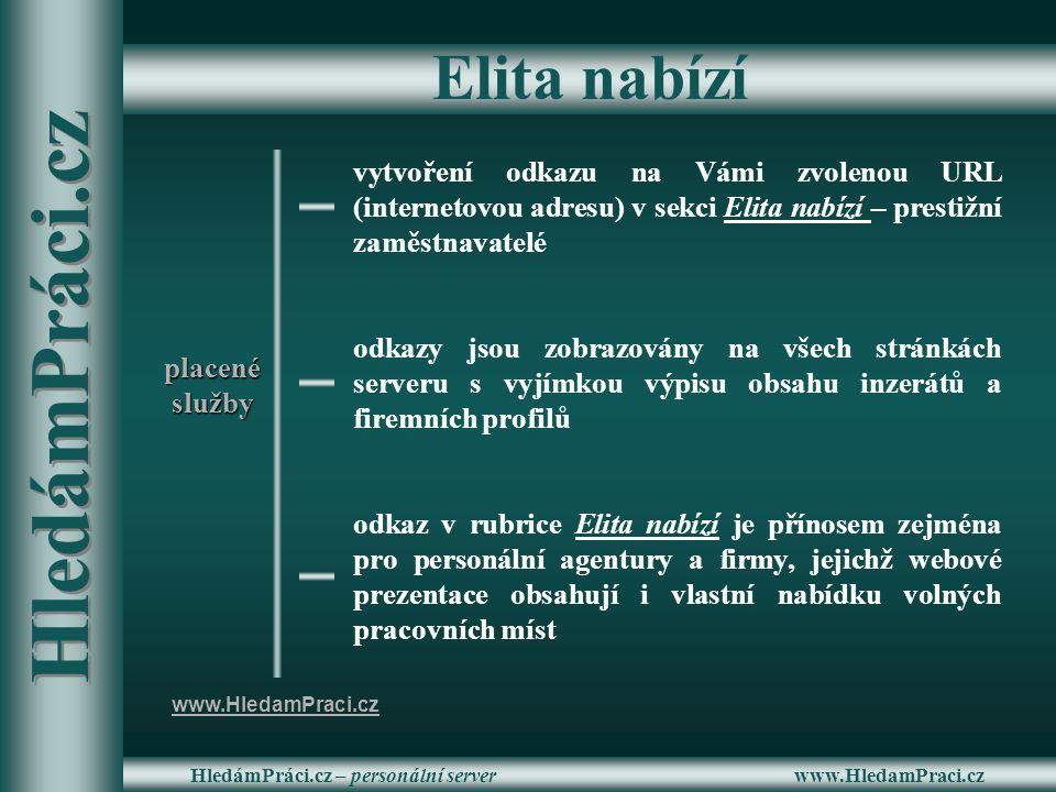 www.HledamPraci.czHledámPráci.cz – personální server Elita nabízí vytvoření odkazu na Vámi zvolenou URL (internetovou adresu) v sekci Elita nabízí – p