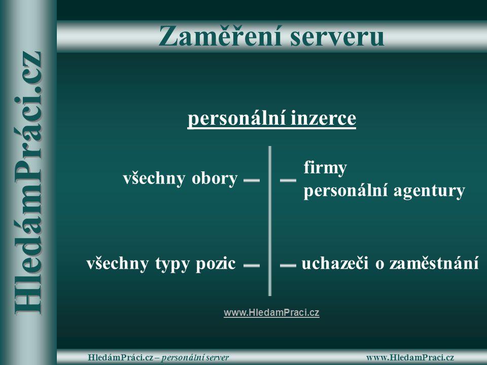 www.HledamPraci.czHledámPráci.cz – personální server Zaměření serveru personální inzerce všechny typy pozic všechny obory firmy personální agentury uc