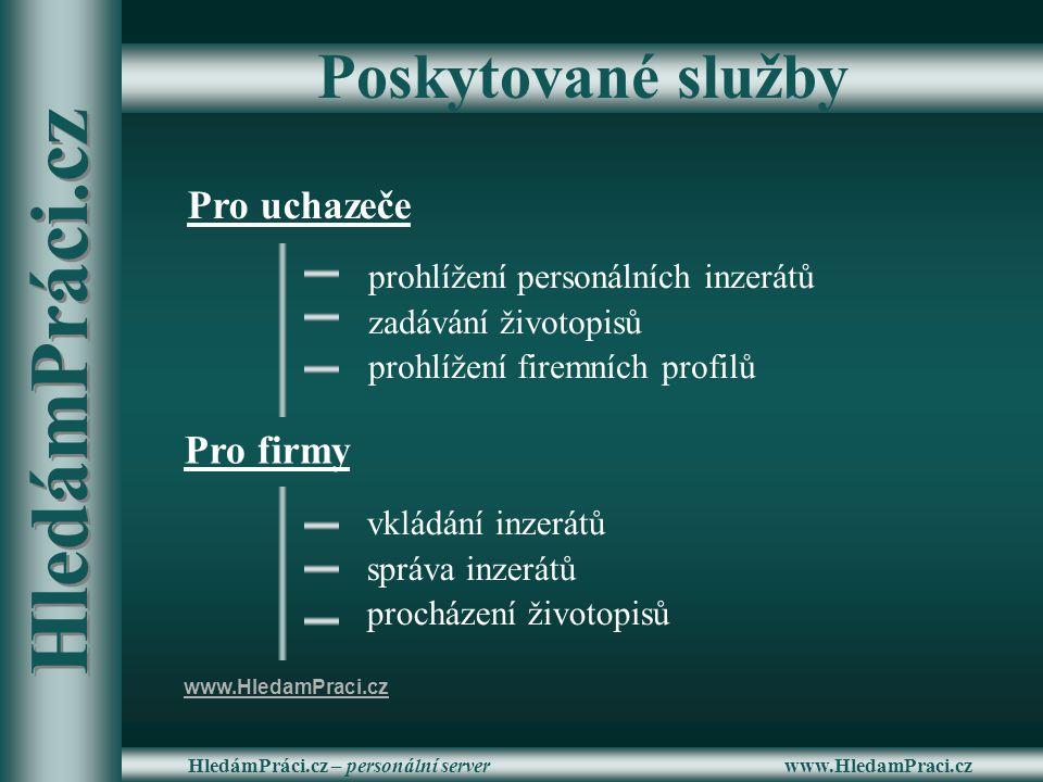 www.HledamPraci.czHledámPráci.cz – personální server Poskytované služby Pro uchazeče Pro firmy prohlížení personálních inzerátů zadávání životopisů pr