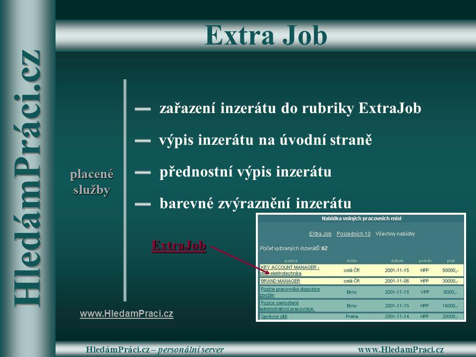 www.HledamPraci.czHledámPráci.cz – personální server Extra Job barevné zvýraznění inzerátu přednostní výpis inzerátu výpis inzerátu na úvodní straně z