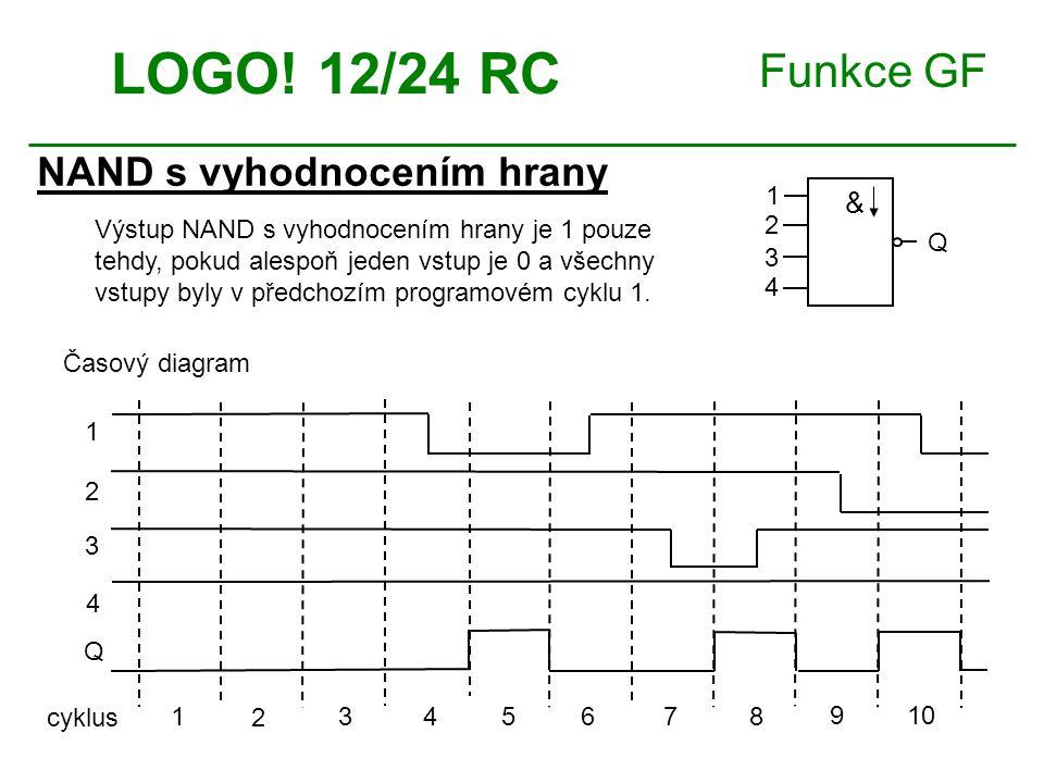 Funkce GF NAND s vyhodnocením hrany LOGO! 12/24 RC Výstup NAND s vyhodnocením hrany je 1 pouze tehdy, pokud alespoň jeden vstup je 0 a všechny vstupy