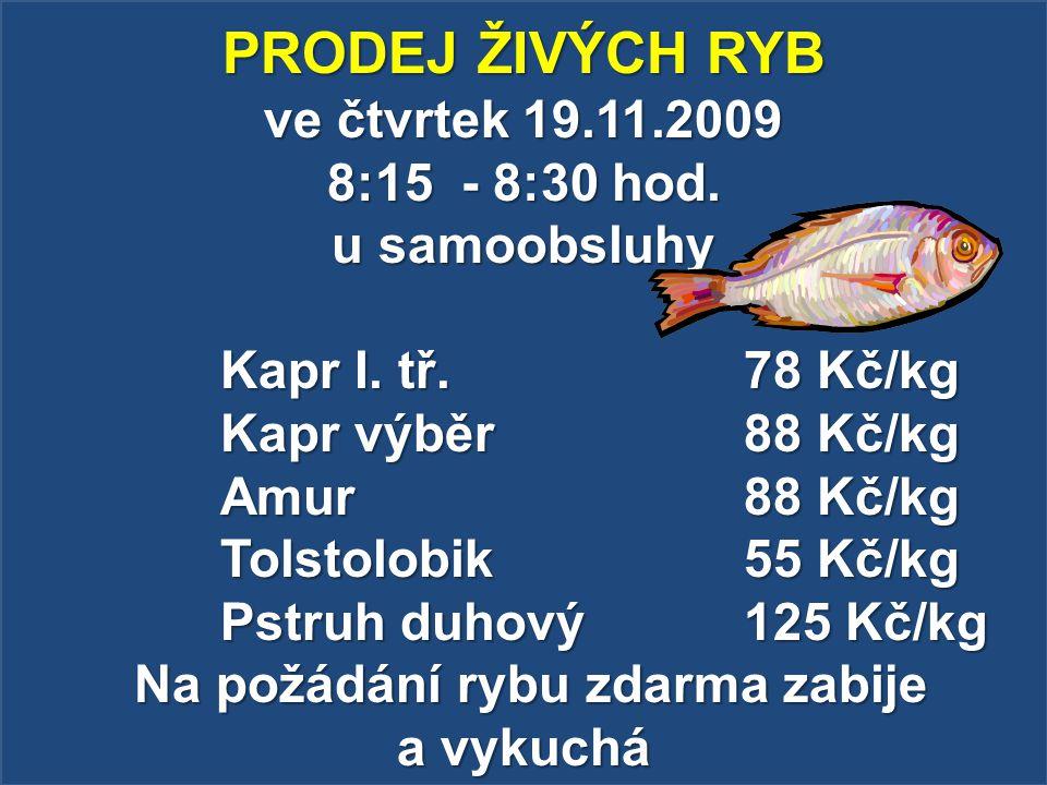 PRODEJ ŽIVÝCH RYB ve čtvrtek 19.11.2009 8:15 - 8:30 hod. u samoobsluhy Kapr I. tř. 78 Kč/kg Kapr výběr 88 Kč/kg Amur 88 Kč/kg Tolstolobik 55 Kč/kg Pst